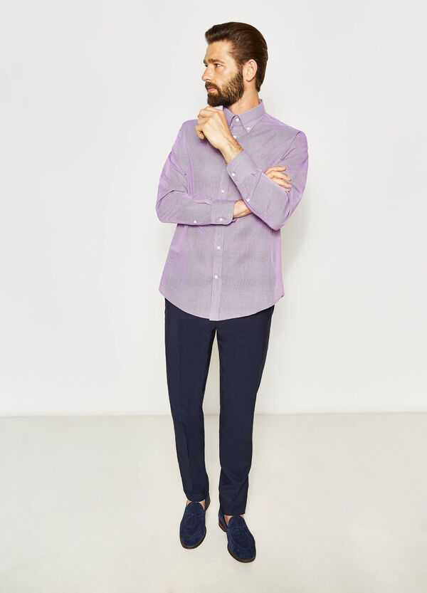 Regular-fit micro-check formal shirt | OVS