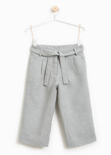Crop trousers with lurex and belt