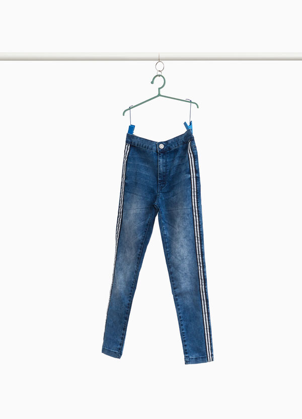 Worn-effect stretch jeans with high waist