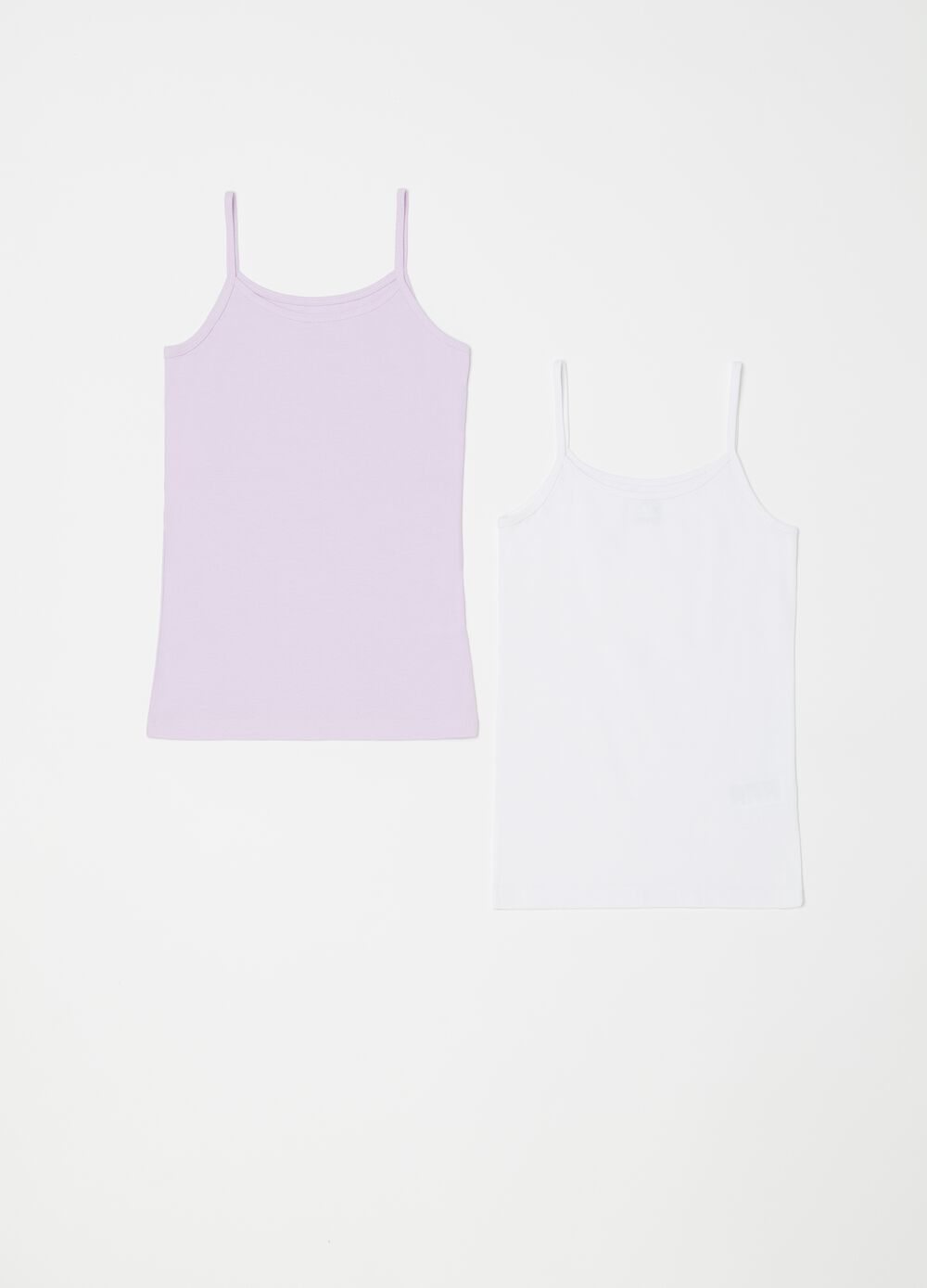Two-pack solid colour smooth biocotton vests