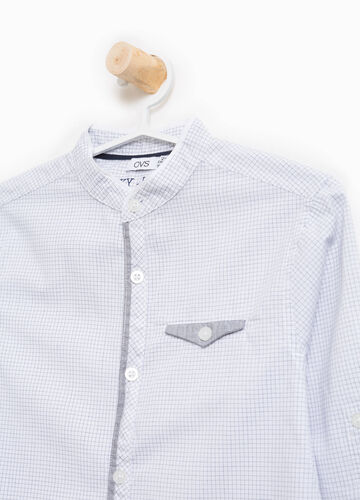 Check shirt in 100% cotton with Mandarin collar