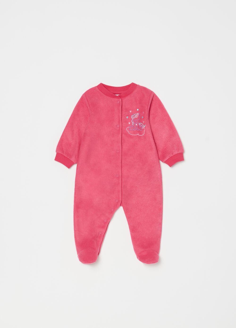 Onesie with feet and unicorn embroidery