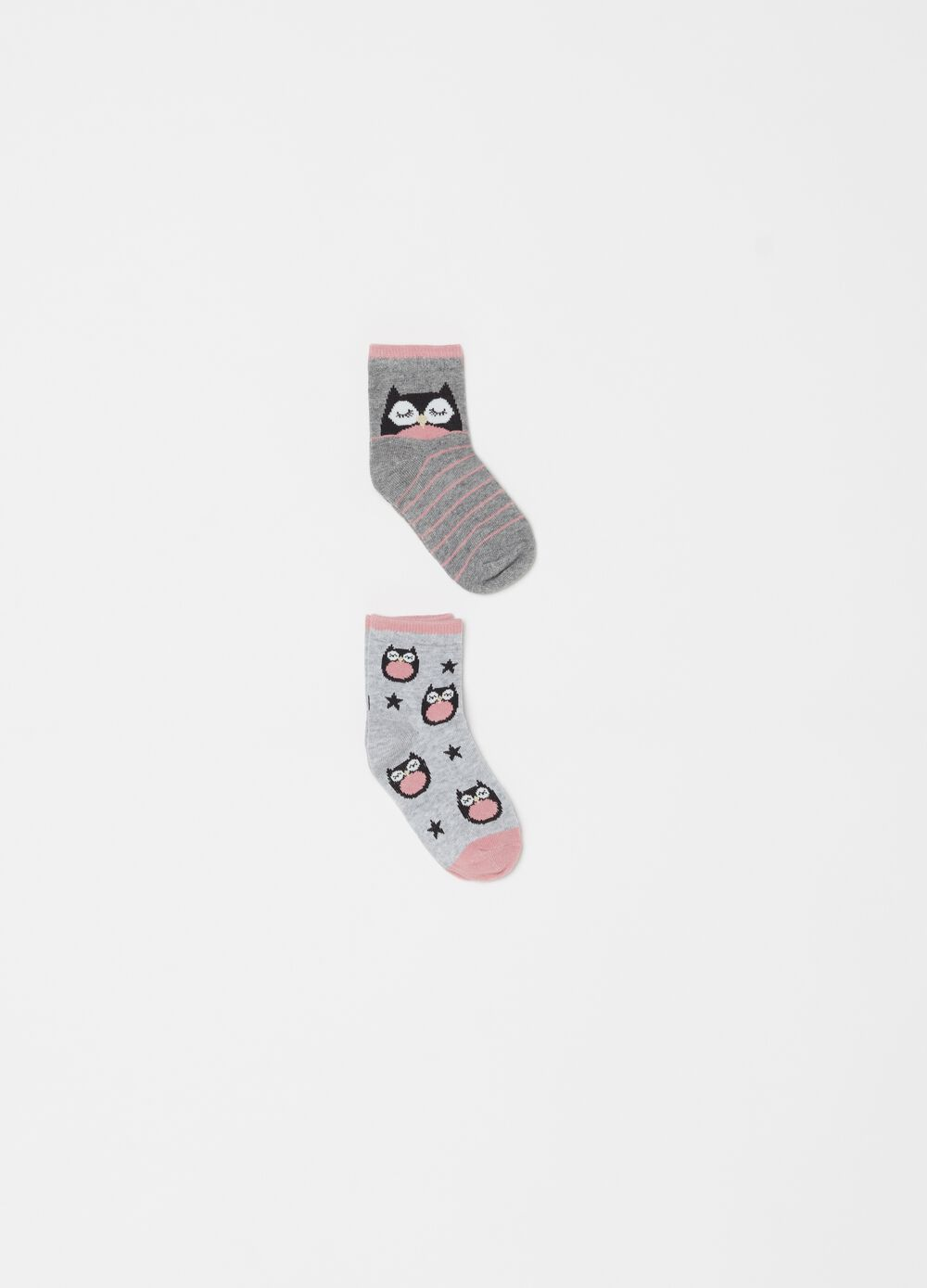 Two-pair pack short socks with owl pattern