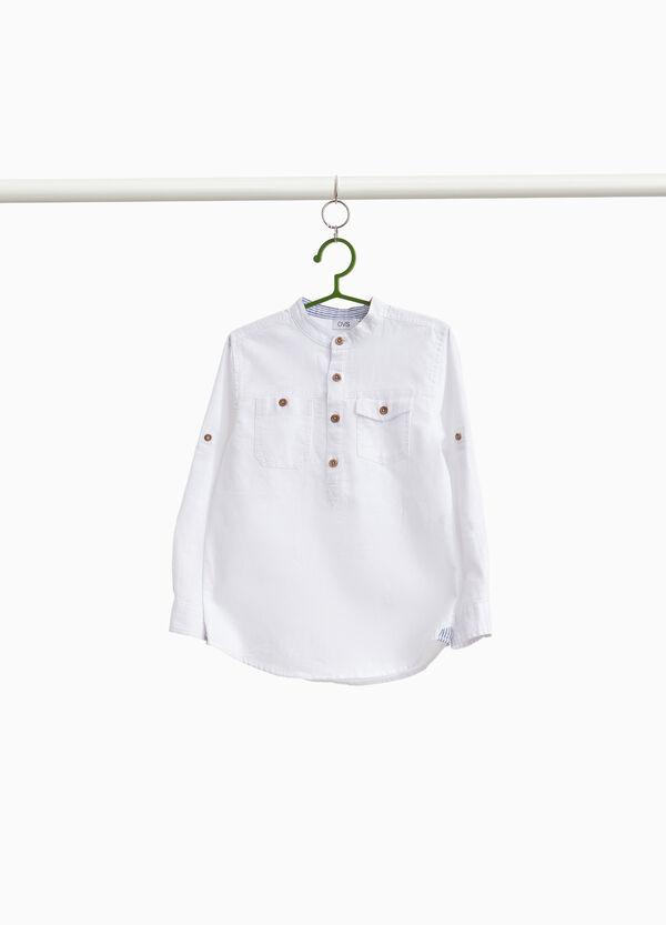 Linen and cotton shirt with pockets