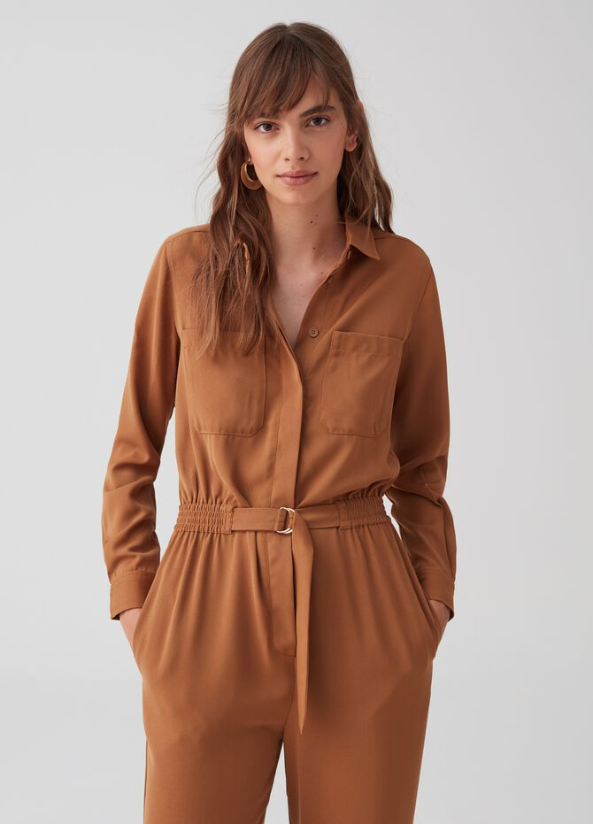 Utility playsuit with belt and buckle