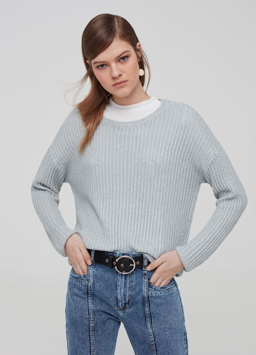 Knitted pullover with lurex