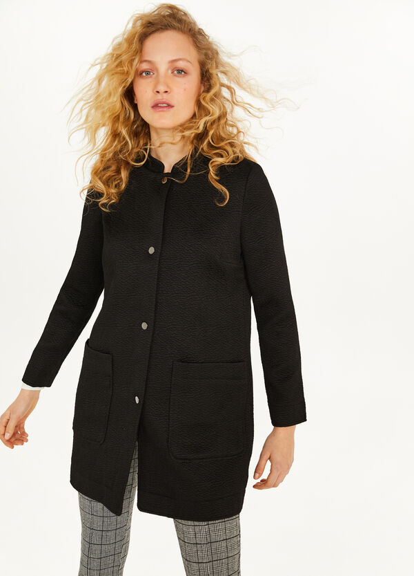 Cotton blend coat with weave