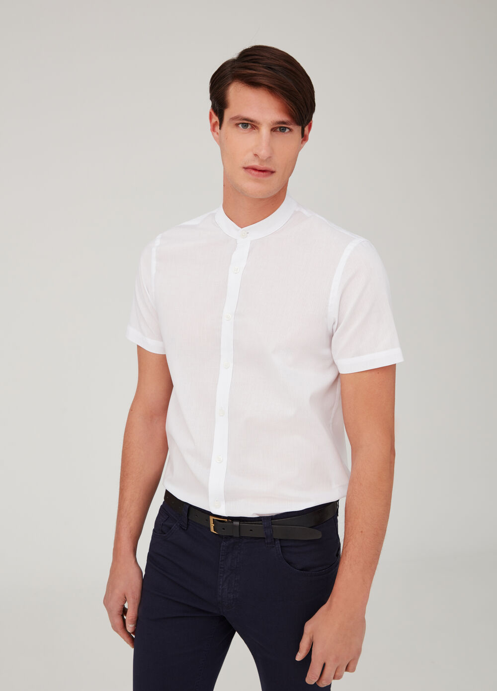 Charmeuse-weave shirt with Mandarin collar