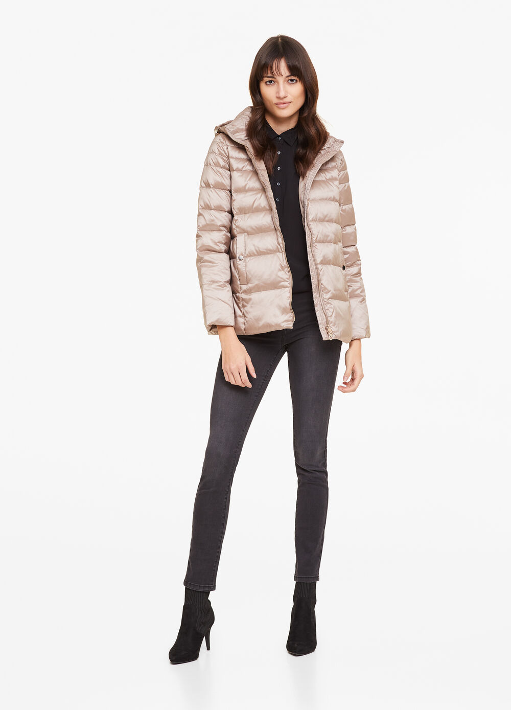 Short padded solid colour jacket