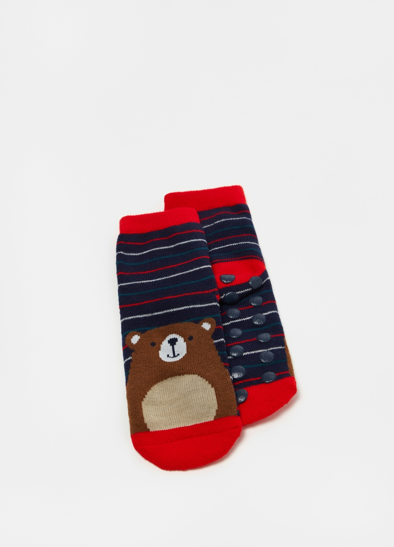Slipper socks box with teddy bear jacquard image number null