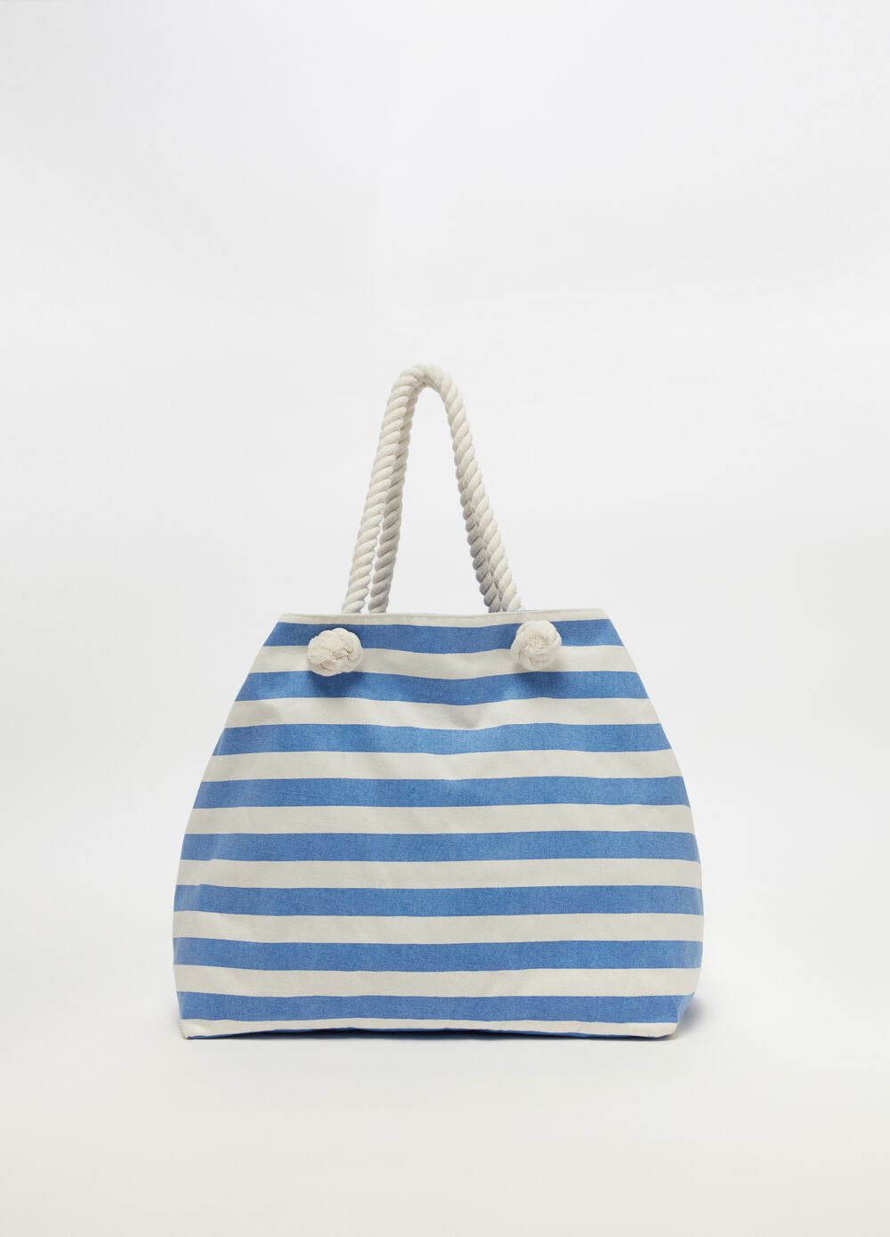Beach bag with striped patterned and pocket