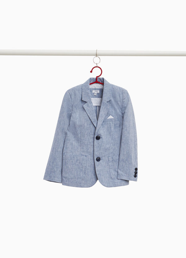 Linen and cotton melange woven jacket