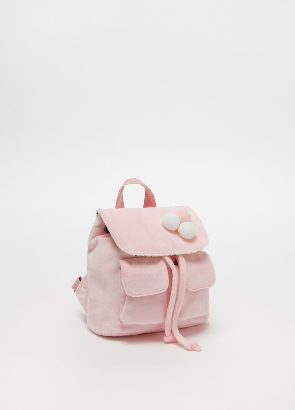Backpack with pockets and pompoms