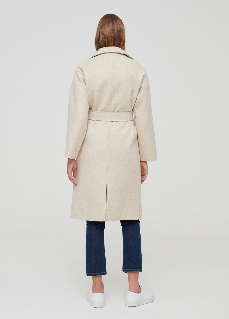 Kimono coat with lapels and belt image number null