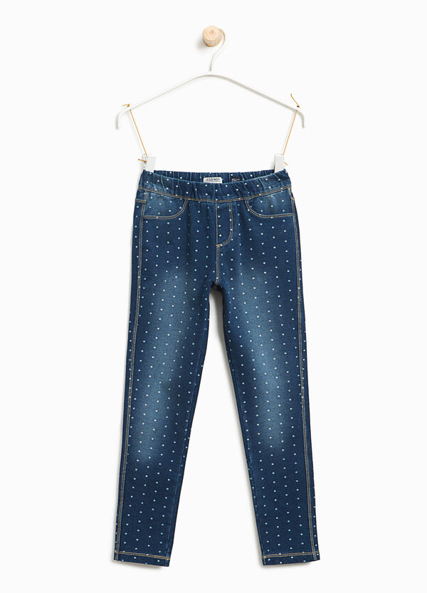 Stretch jeggings with polka dot and fading | OVS