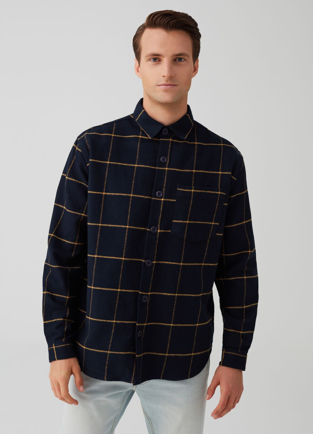 Comfort-fit shirt jacket in flannel