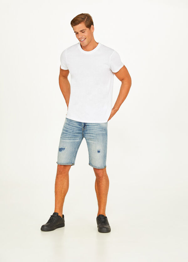 Mis-dyed stretch denim Bermuda shorts