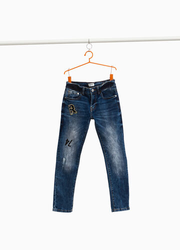 Straight-fit worn-effect jeans with patches