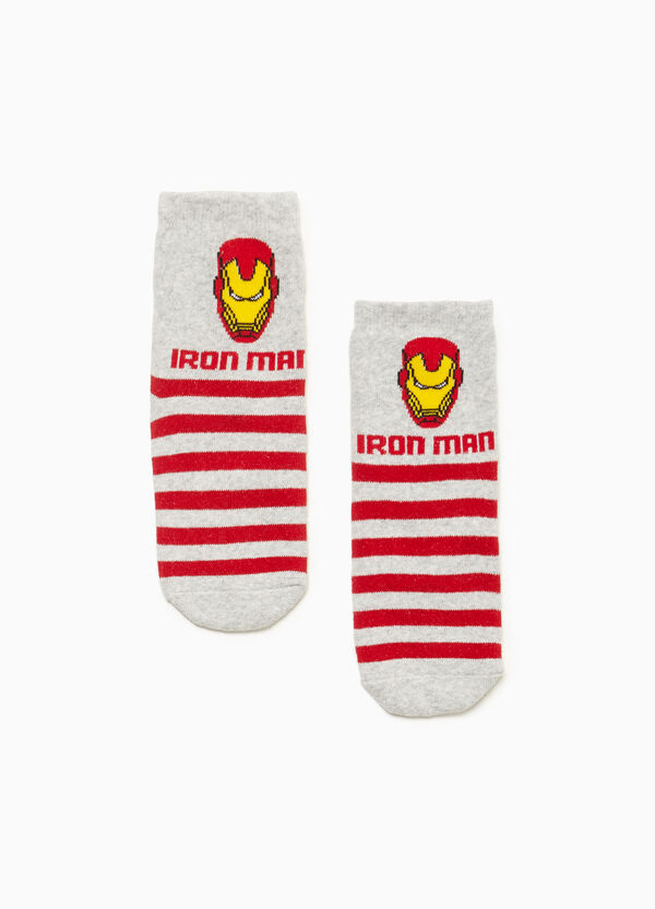 Striped Iron Man slipper socks