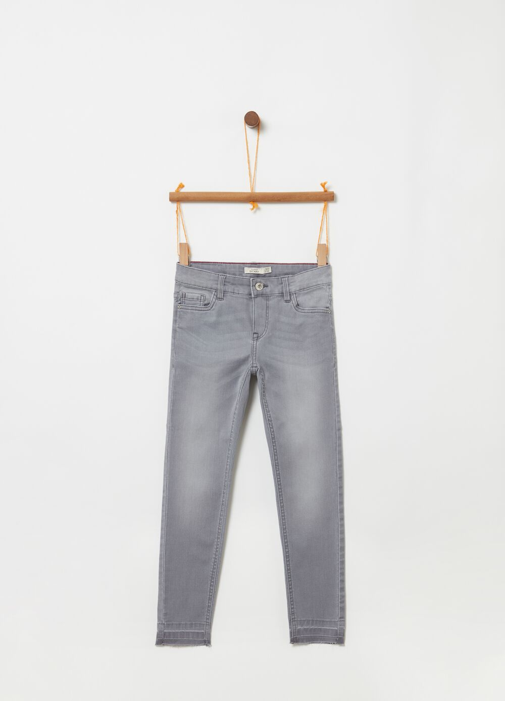 Washed stretch jeans with five pockets