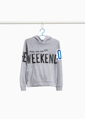Cotton and viscose sweatshirt with printed lettering