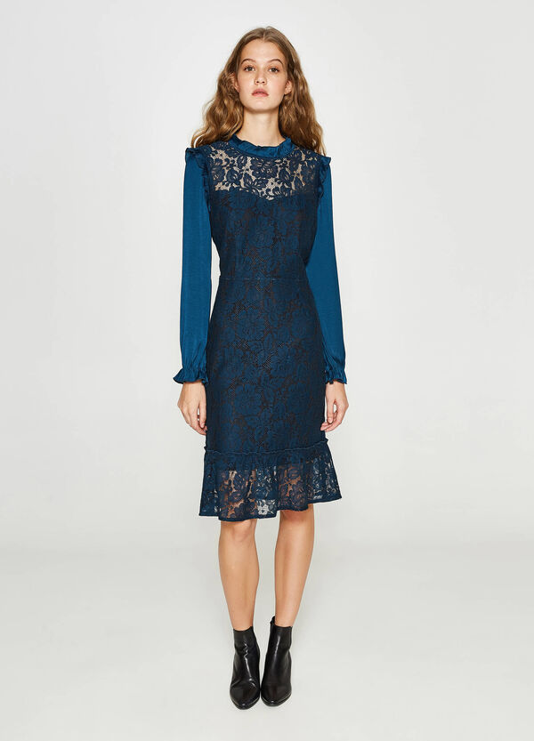 Dress in viscose and cotton lace | OVS
