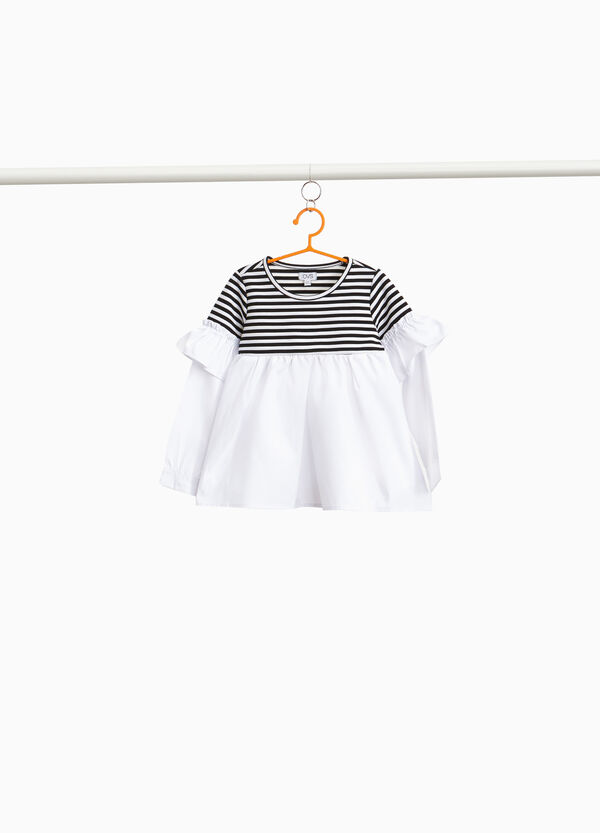 Stretch blouse with striped insert