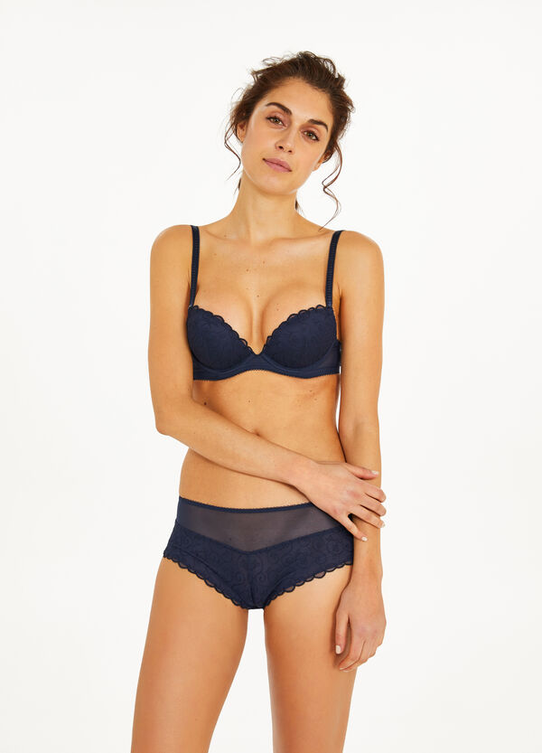 Push-up stretch bra with embroidery