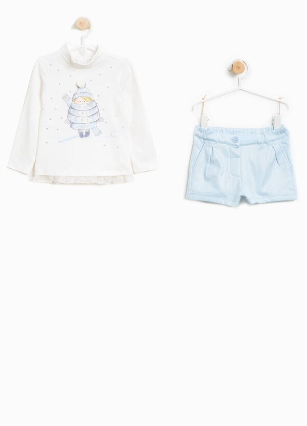 Stretch cotton turtleneck jumper and shorts outfit   OVS