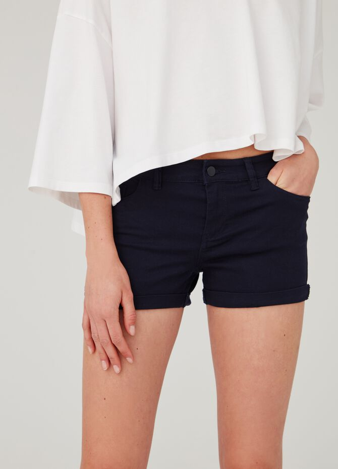 Stretch cotton shorts with five pockets