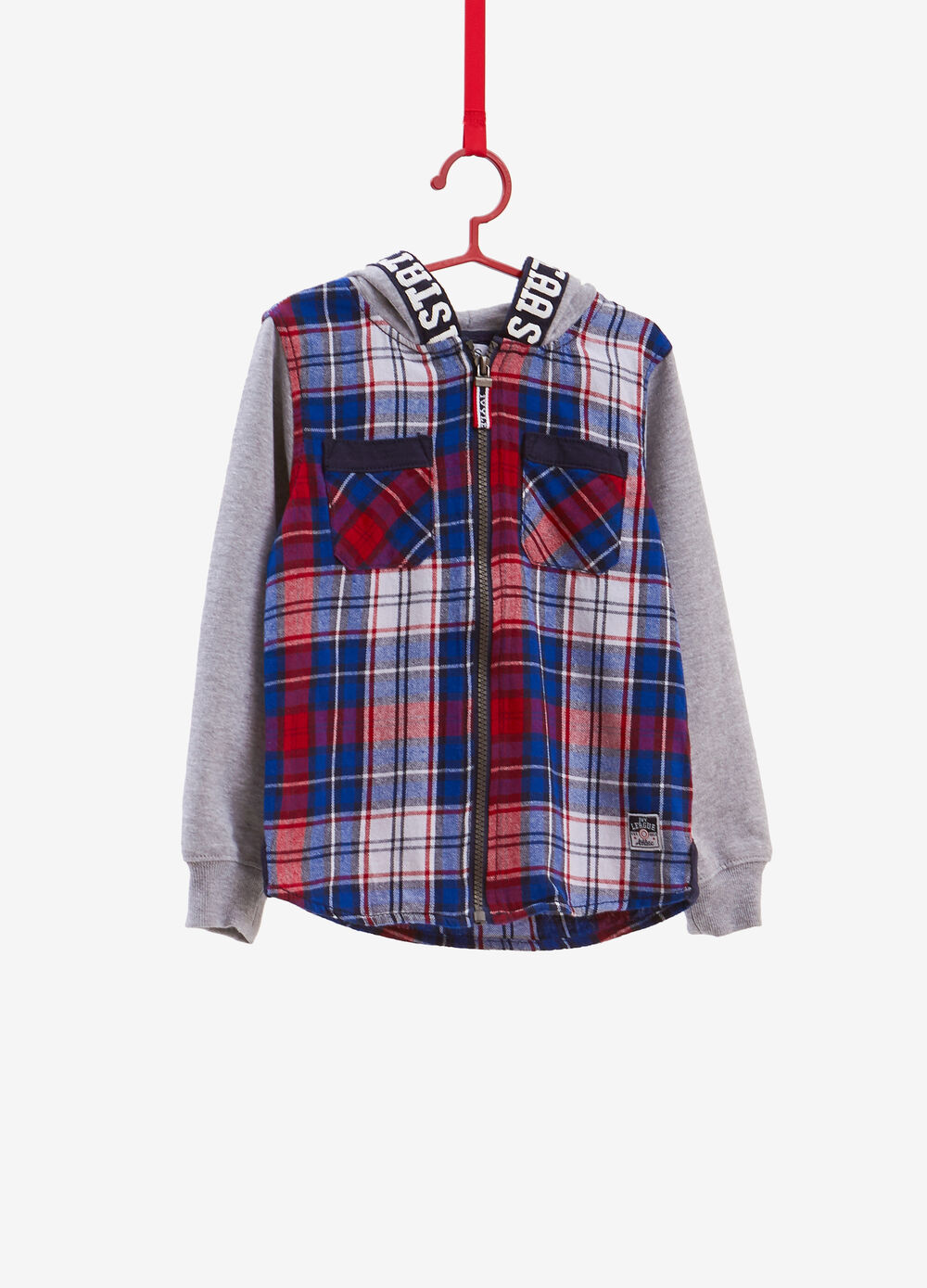 Shirt with hood and tartan print