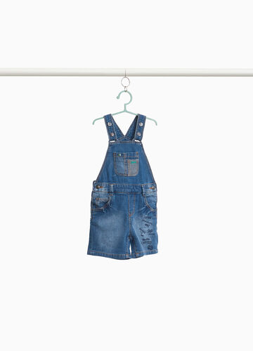 Denim dungarees with lettering print
