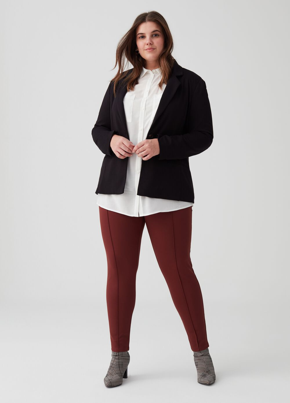 Curvy stretch leggings with pleats