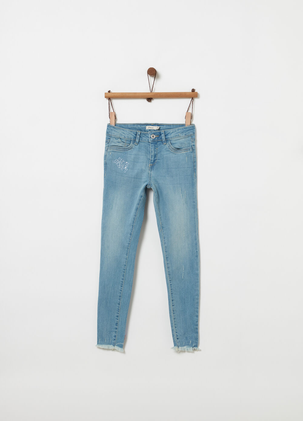 Skinny-fit ankle jeans with fading and embroidery