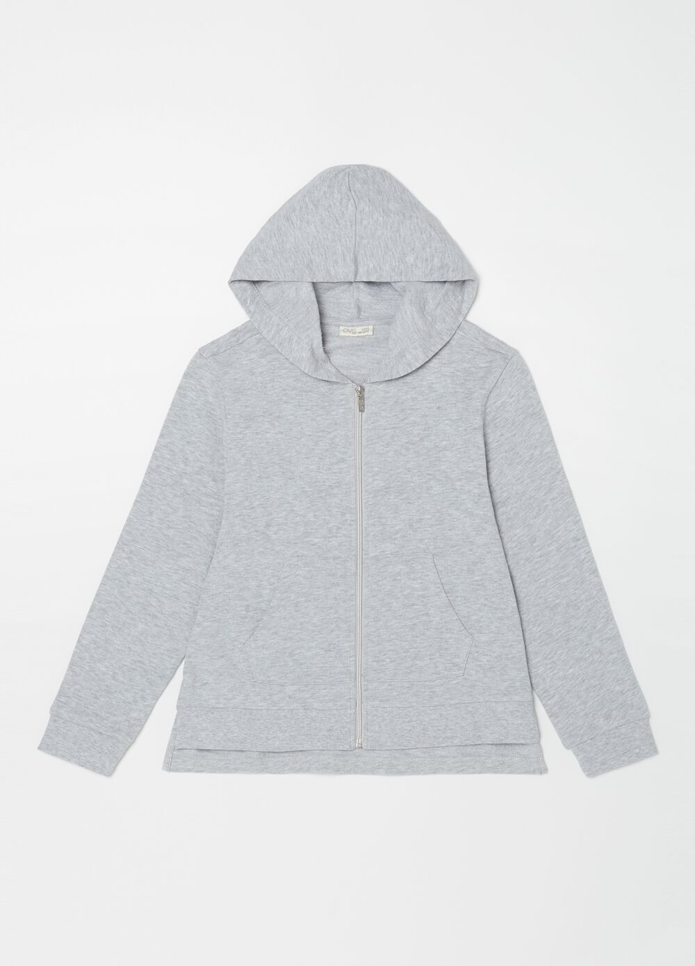 Mélange sweatshirt with hood and pockets