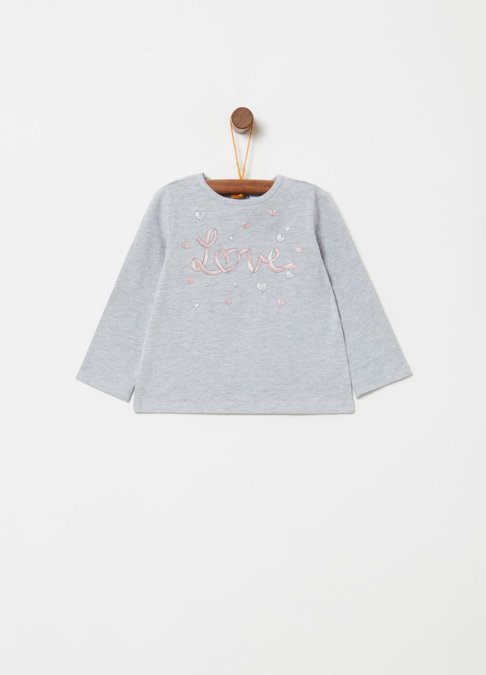 Mélange T-shirt with lettering and hearts print
