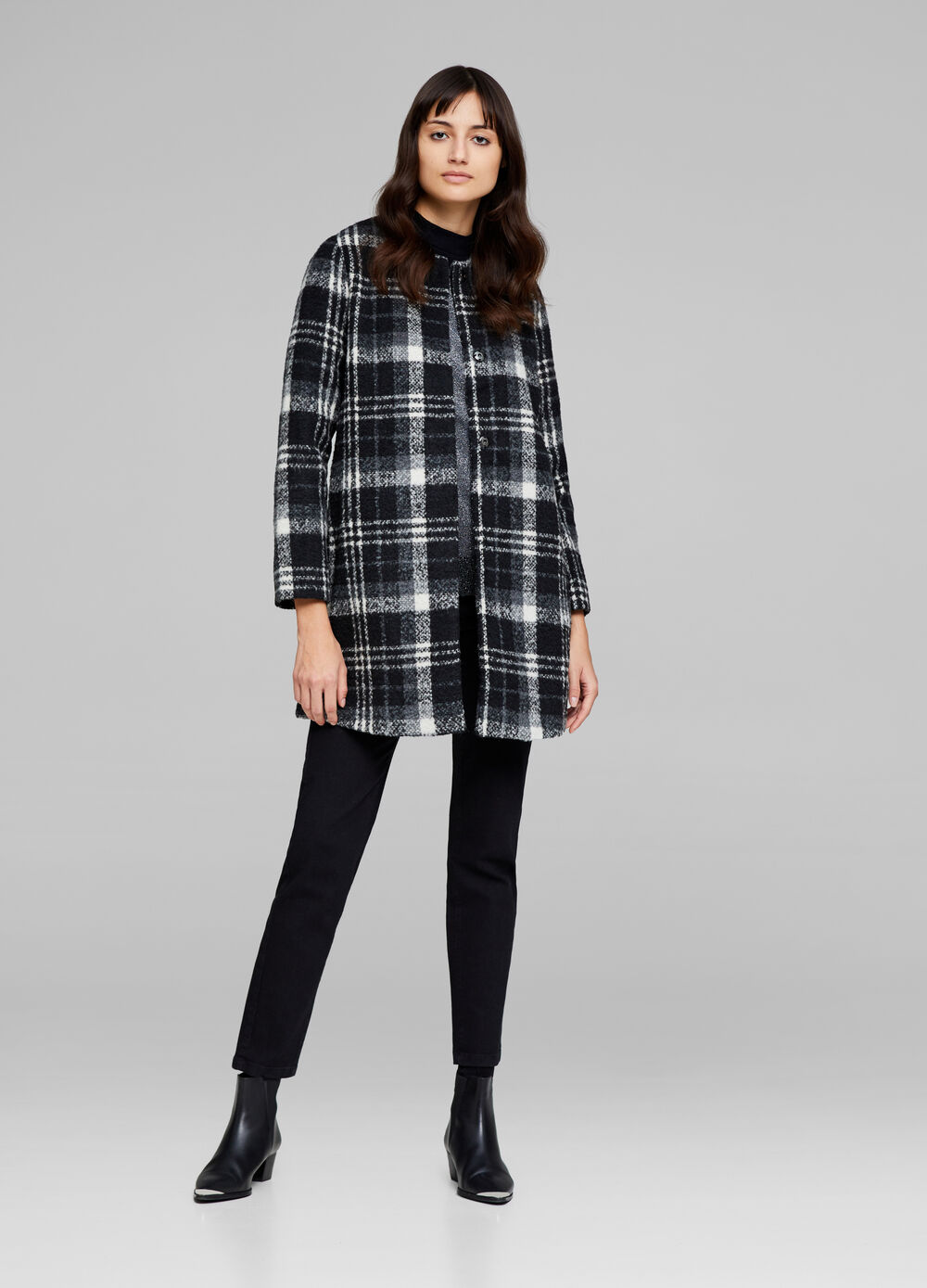 Wool blend coat with check pattern