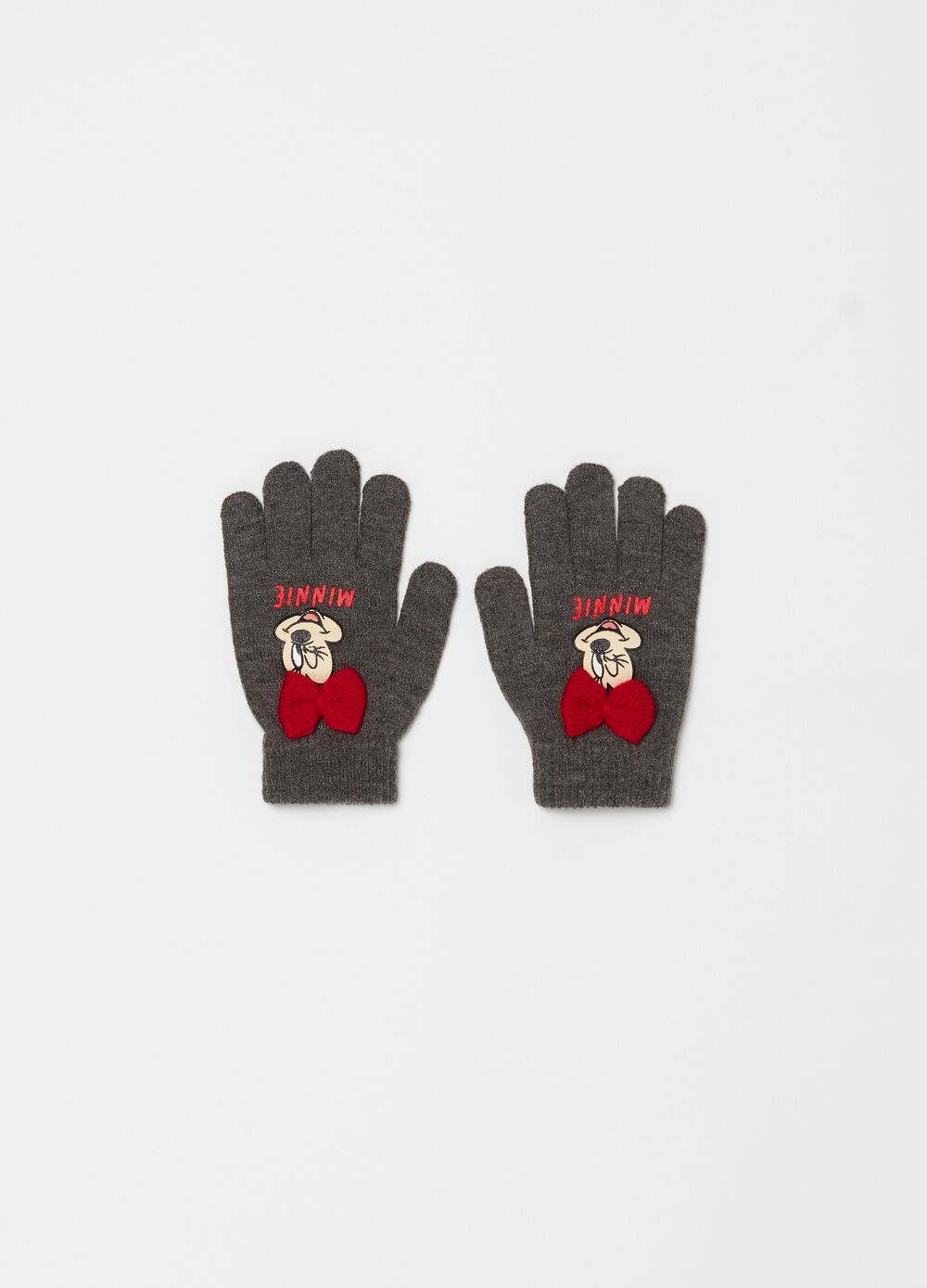 Knitted gloves with Disney Minnie Mouse bow