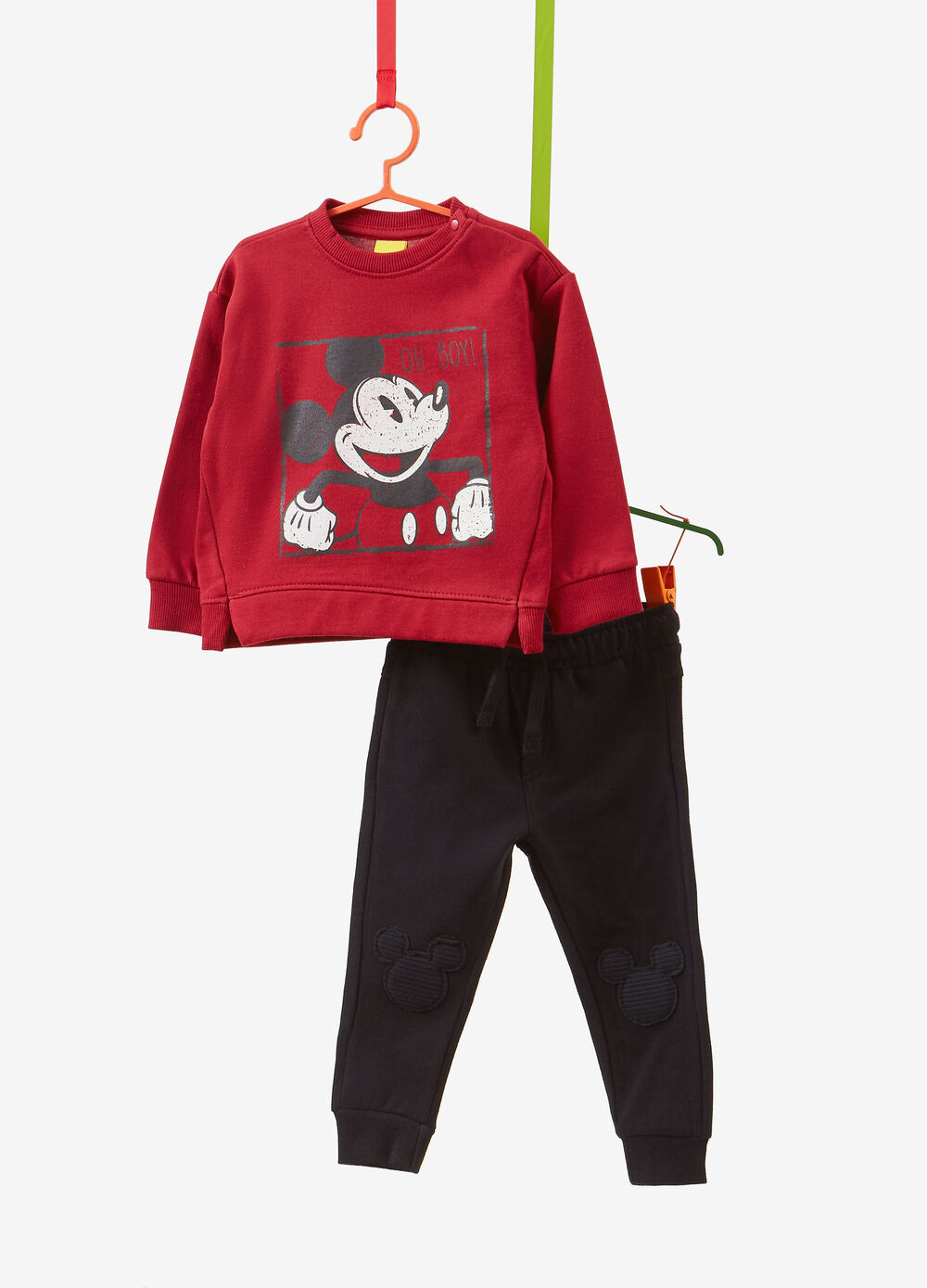 Mickey Mouse print solid colour tracksuit