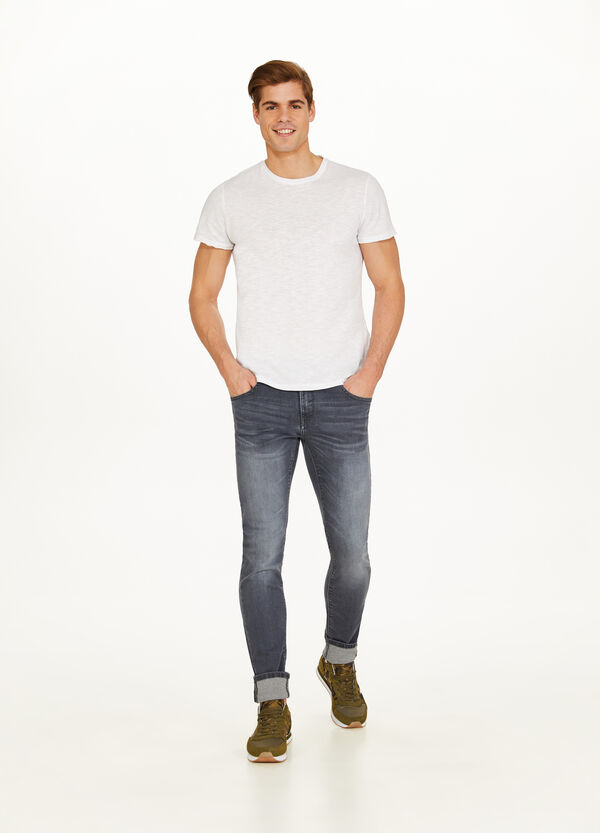 Skinny-fit, used-effect, stretch jeans