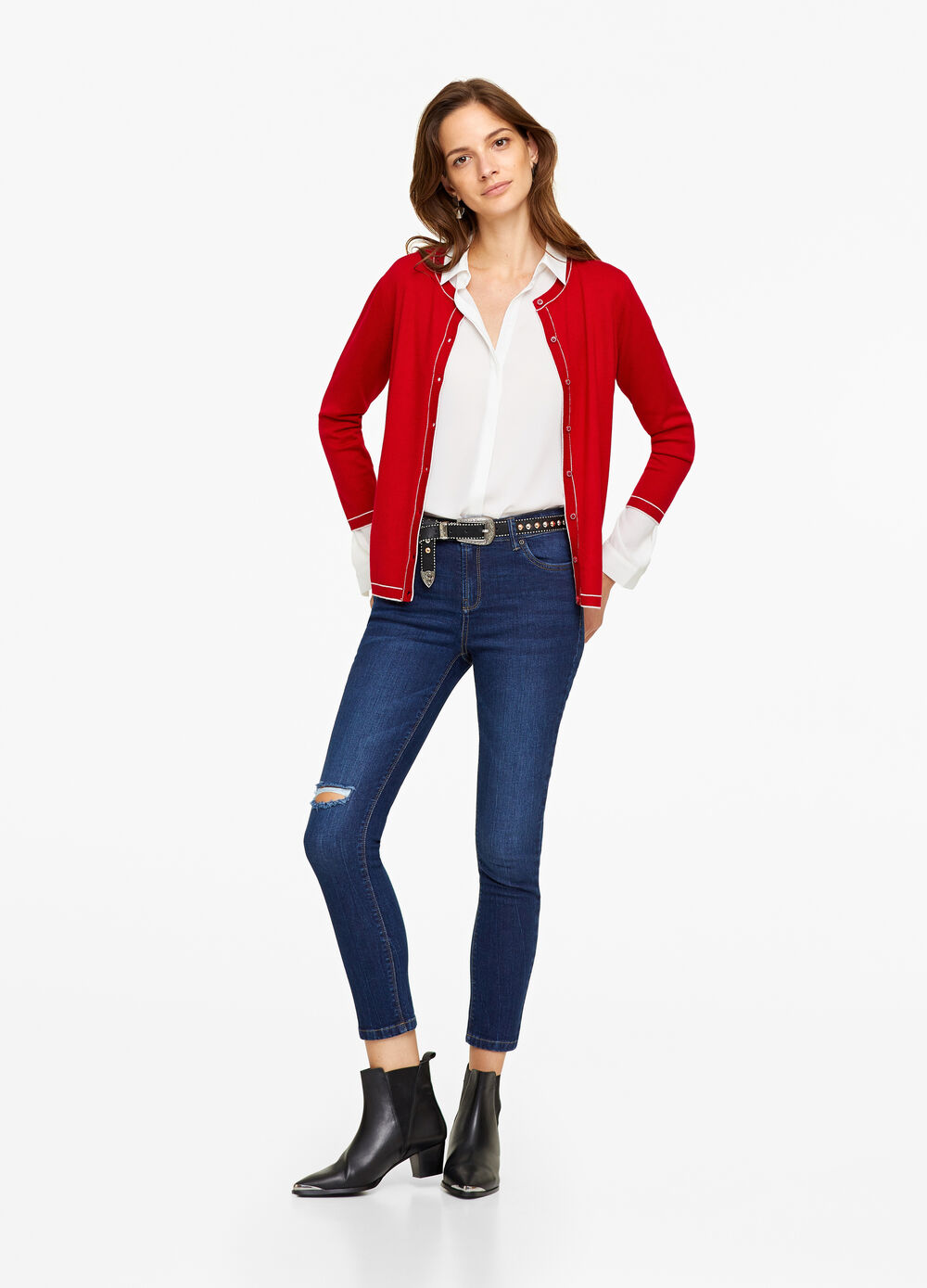 Knitted cardigan with trim