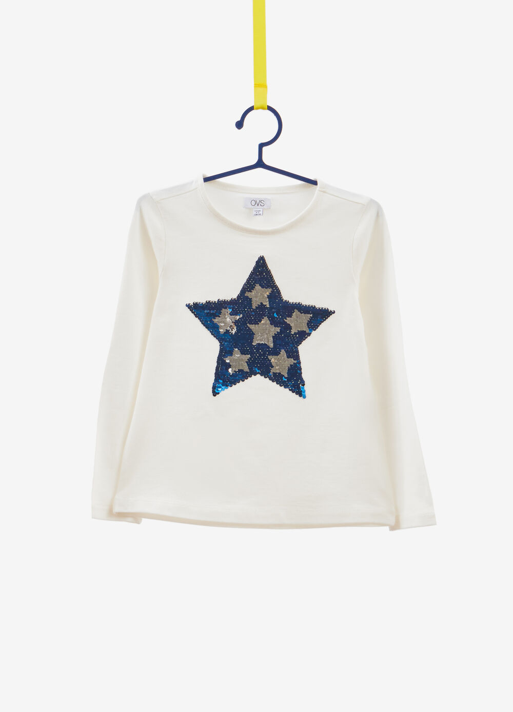 Stretch cotton T-shirt with star sequins