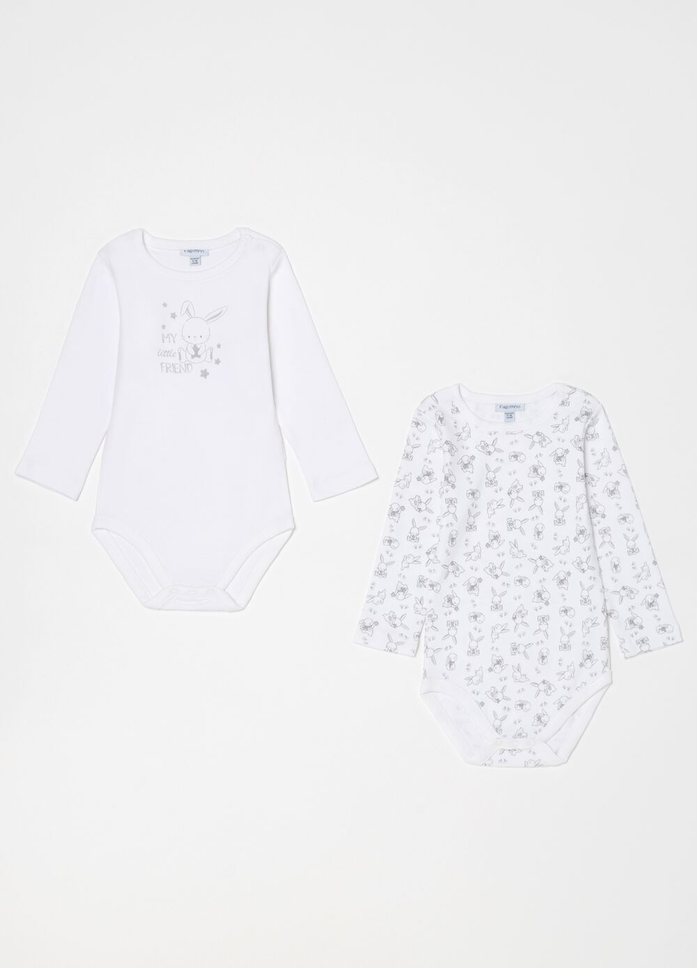 Two-pack 100% organic cotton bodysuits with pattern