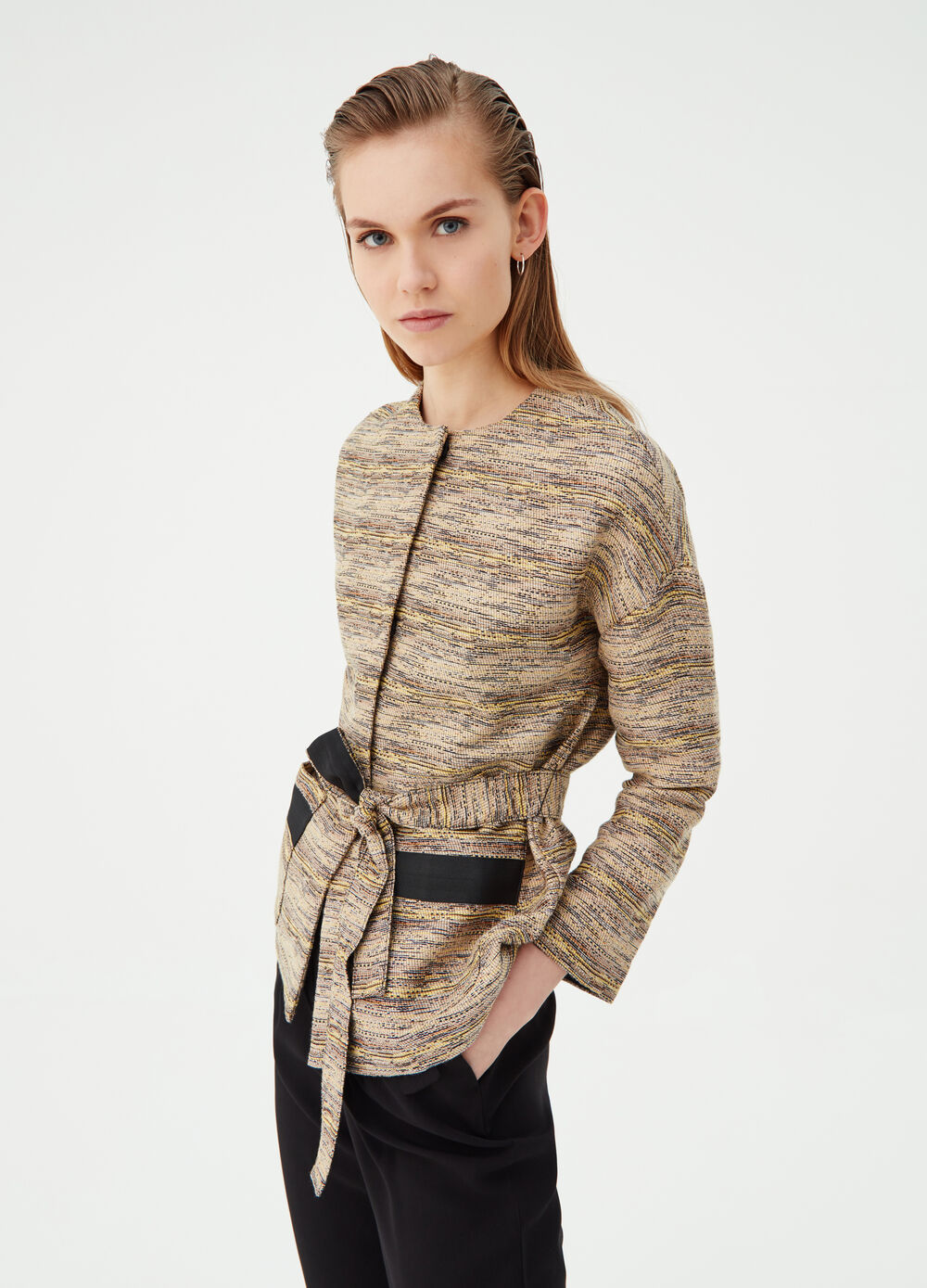Jacquard jacket with kimono sleeves