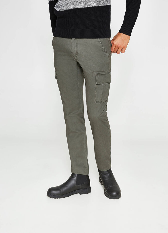 Pantalon regular fit cargo 100 % coton
