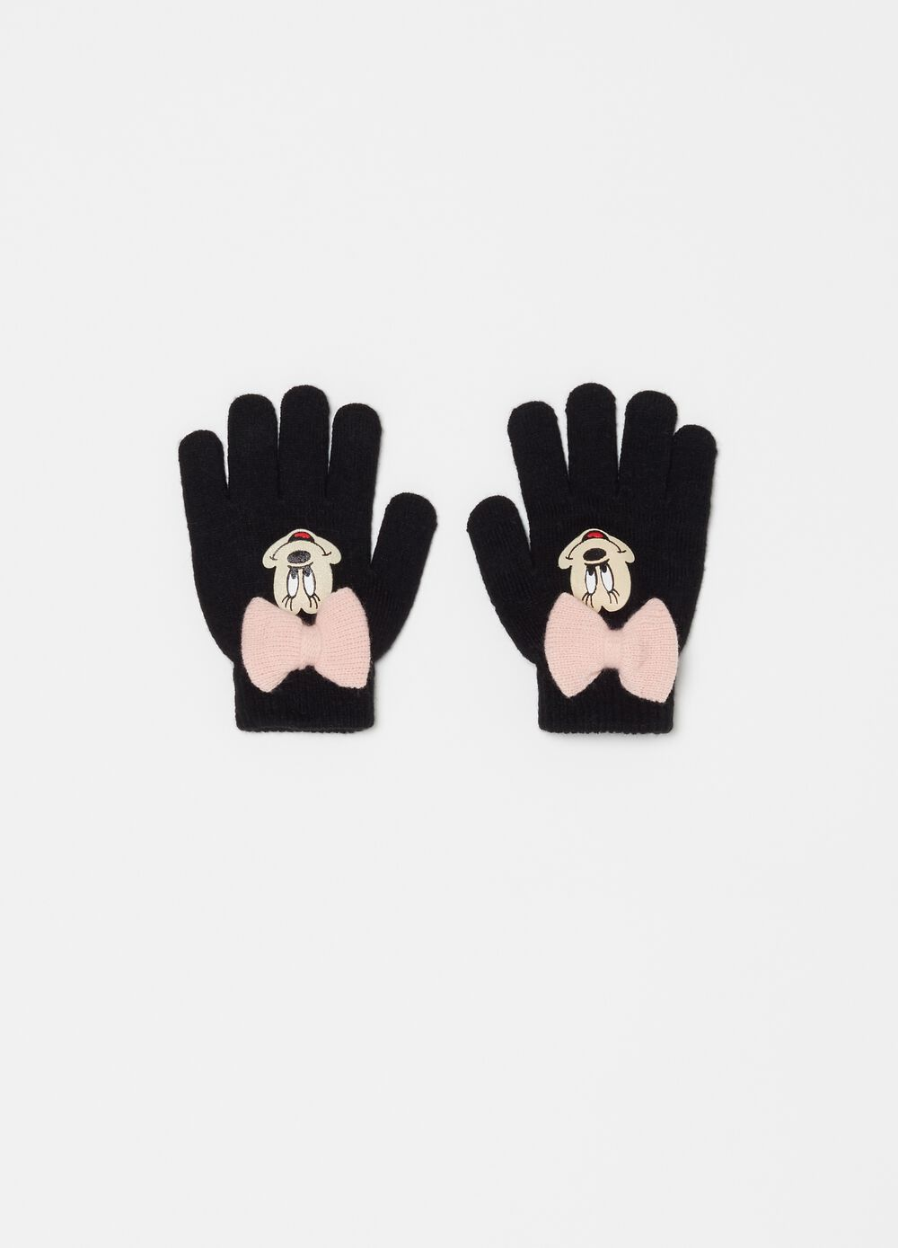Knitted gloves with Disney Minnie Mouse print