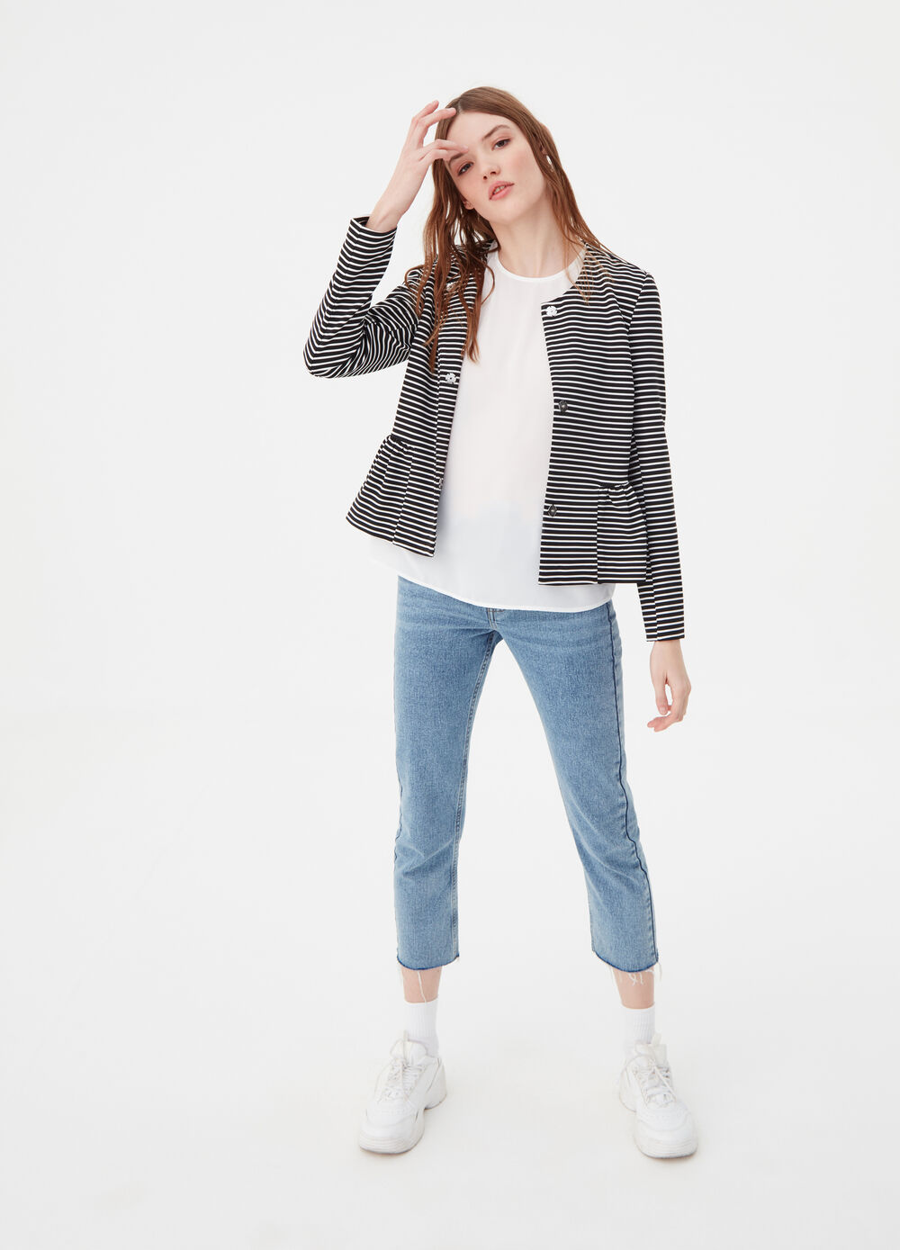 Knitted jacket with striped pattern