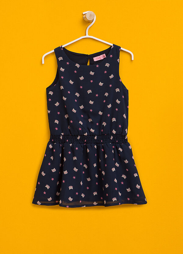 Dress with stars and kittens pattern | OVS