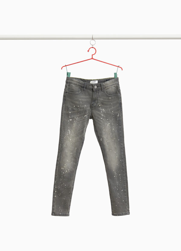 Skinny-fit jeans with coloured splashes