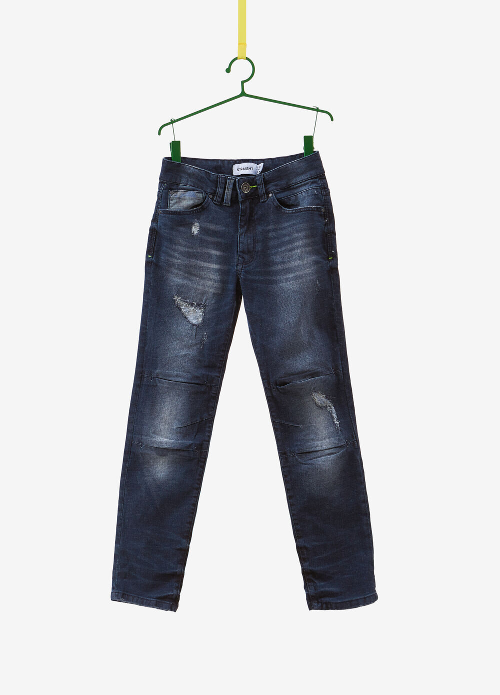 Straight-fit stretch jeans with abrasions